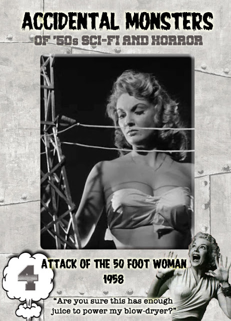 Accidental Monsters of the '50s trading card #4: Attack of the 50 Foot Woman (1958)