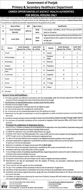 Punjab Primary and Secondary Health care Department Computer Operators & Clerks Jobs 2019