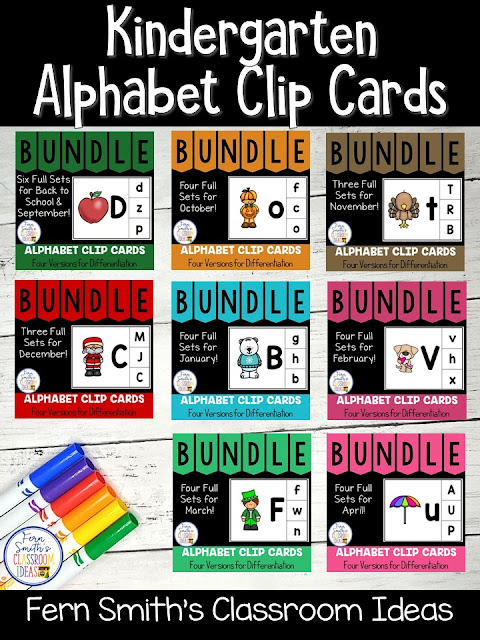 You can click on the picture or the caption below it to arrive at my TpT store already sorted for the grade level items you want for your class. Seasonal Alphabet Clip Cards for your Pre-K, Kindergarten, and First Grade Students. #FernSmithsClassroomIdeas