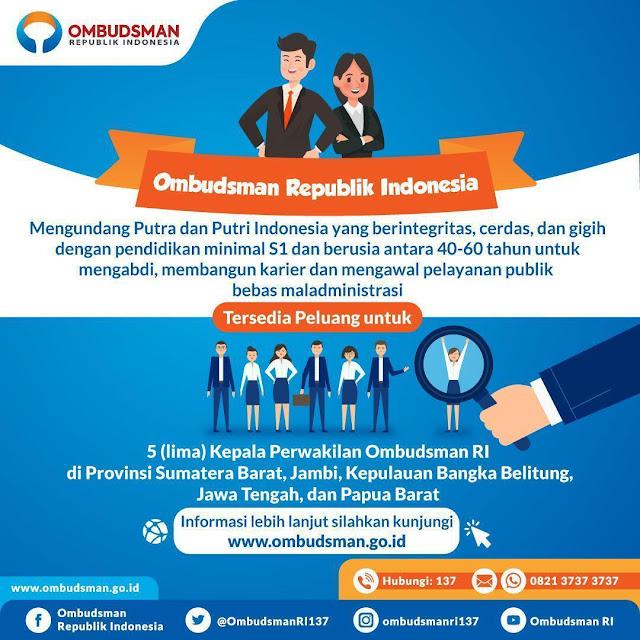 Lowongan Kerja Ombudsman Republik Indonesia Juni 2019