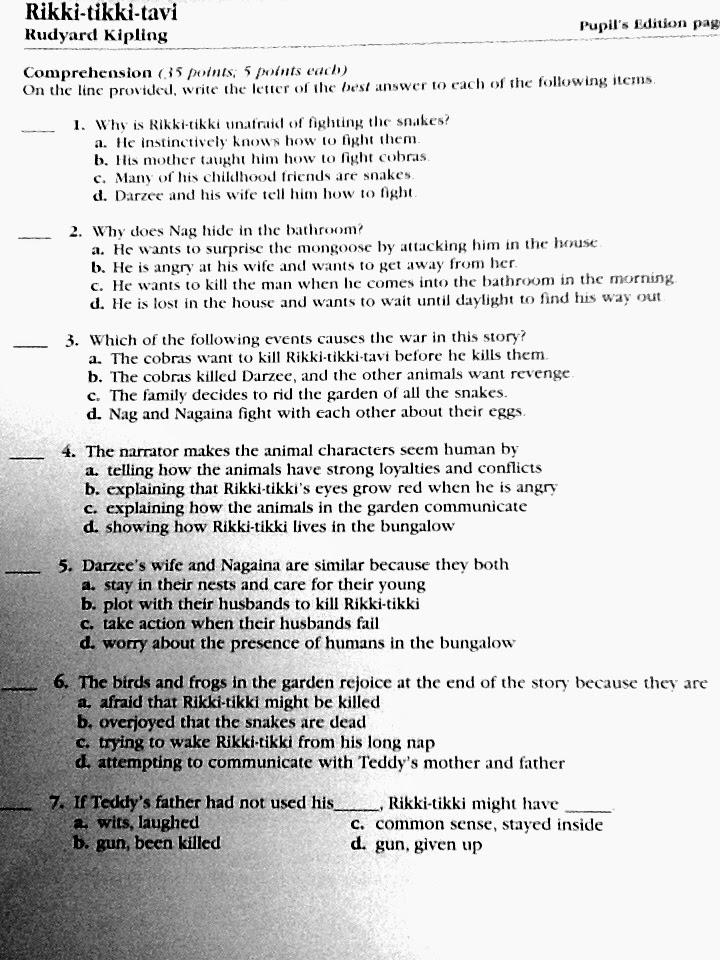 Mrs Judds Blogspot Rikki Tikki Tavi Pop Quiz 2
