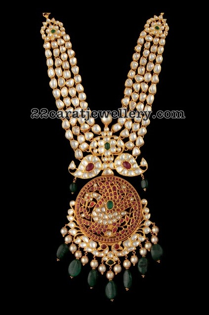 Kundan Long Chain Peacock Pendant