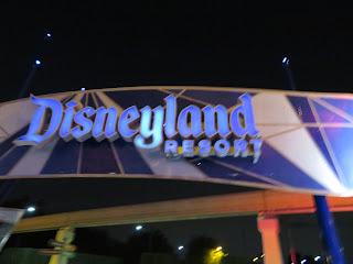 Disneyland Resort Entrance Sign at Night