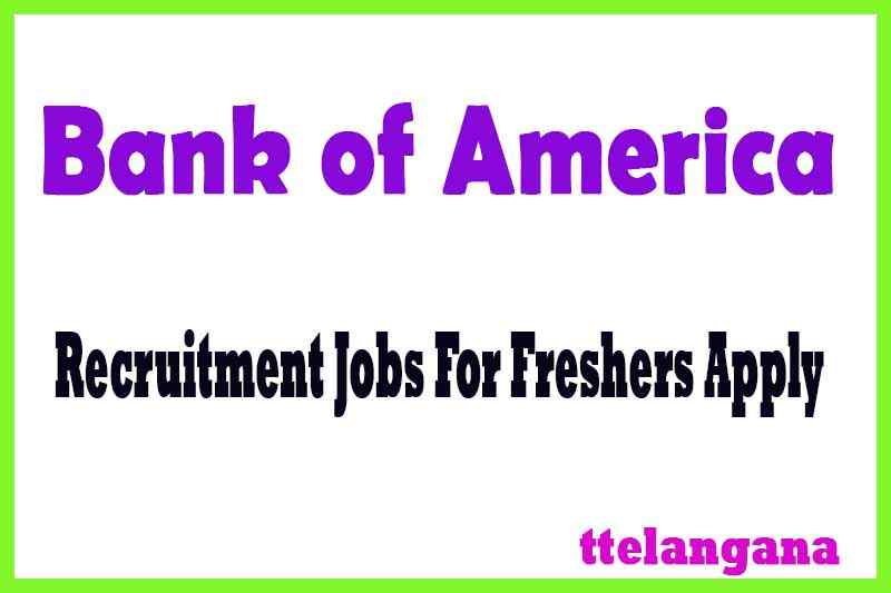 Bank of America  Recruitment Jobs For Freshers Apply