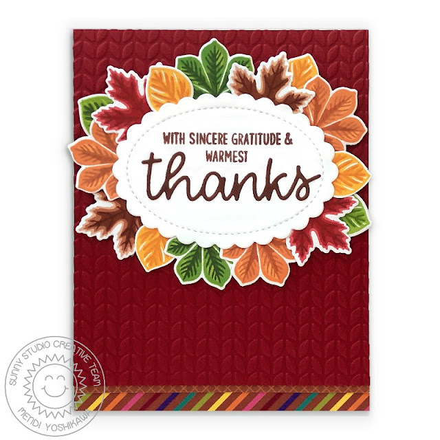Sunny Studio Warmest Thanks Layered Leaves Fall Card (using Crisp Autumn, Words of Gratitude Stamps, Thank You Word Dies, Scalloped Oval Mat 1 Dies, Cable Knit Embossing Folder & Sweater Weather Paper)