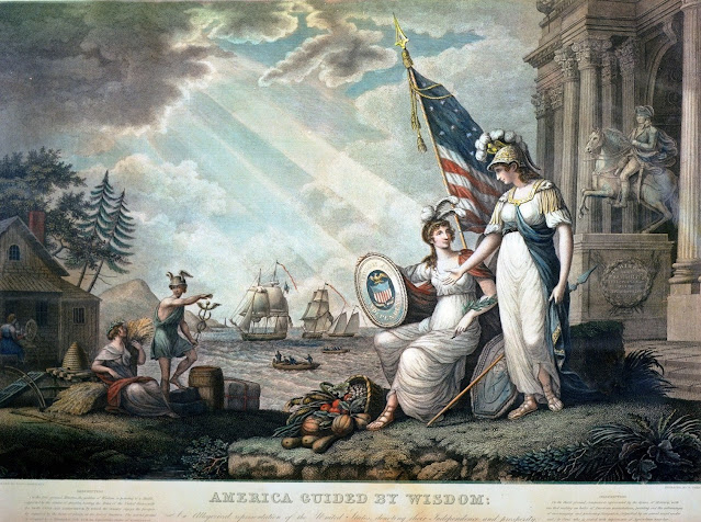 Painting by John James Baralett of the goddess of Wisdom, is pointing to a shield, supported by the Genius of America, bearing the arms of the United States, with the motto UNION AND INDEPENDENCE