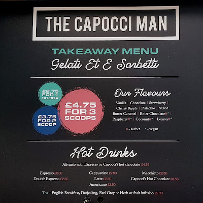 Capocci's famous gelato take away menu for pop up italian restaurant