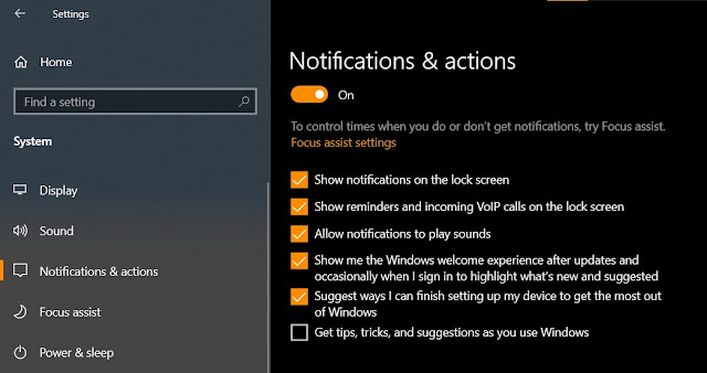 notification and actions windows