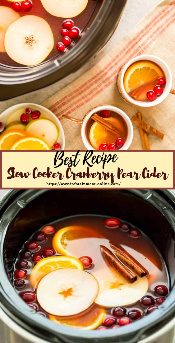 Slow Cooker Cranberry Pear Cider  #healthydrink #easyrecipe #cocktail #smoothie