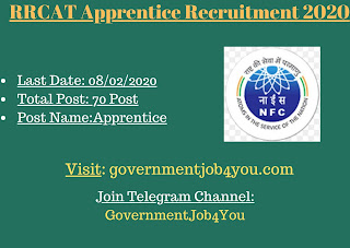 RRCAT Apprentice Recruitment 2020 invites online applications for filling up the Apprentice posts. There is a total of 70 vacancies of the posts to be filled. Applicants to the posts posses with 10th Pass  (2) ITI (/ Electronic Mechanic / Instrument Mechanic / Machinist / Fitter / Electrician) Passout to apply. Such eligible applicants need to apply online. For online applications, applicants need to pay the application fees as given. The closing date for online applications is 08 th February 2020. More details of the RRCAT Apprentice Recruitment 2020 applications & online applications link is given below : –