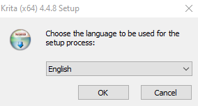 Pengaturan bahasa aplikasi Krita