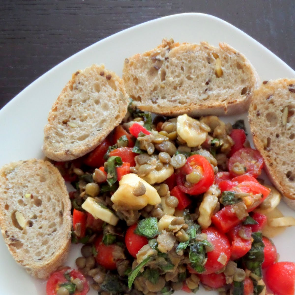 Lentil Caprese Salad:  A lentil salad with tomatoes, mozzarella, and basil tossed in a balsamic vinaigrette. It's great as a side or a light lunch.