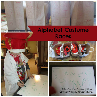 learning letters while being silly with costumes