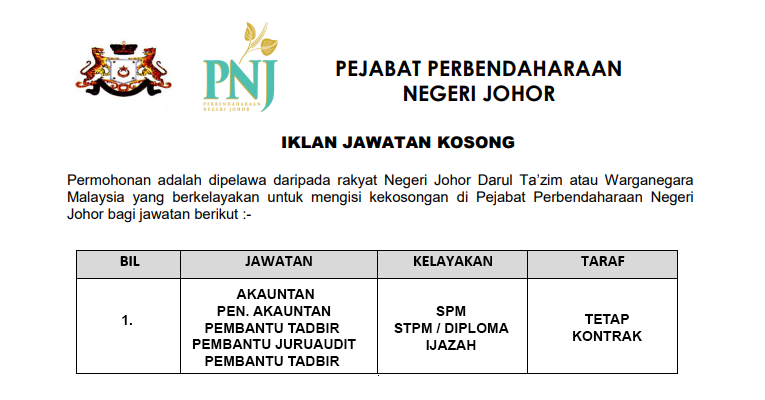 Perbendaharaan Negeri Johor [ Kelayakan SPM / STPM / Diploma & Ijazah ]