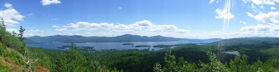 Panoramic view of Lake George from The Pinnacle, just outside of Bolton Landing, Saturday 8/08/2015.  The Saratoga Skier and Hiker, first-hand accounts of adventures in the Adirondacks and beyond, and Gore Mountain ski blog.