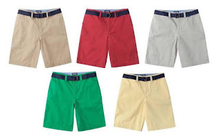 Quần Short kaki có dây lưng bé trai xuất xịn, hiệu Chaps, made in vietnam, size 3-14T.