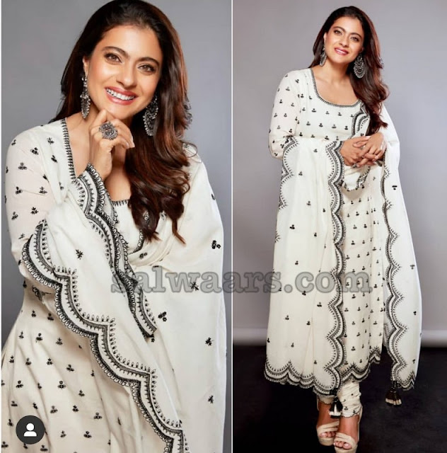 Kajol White and Black Embroidery Salwar