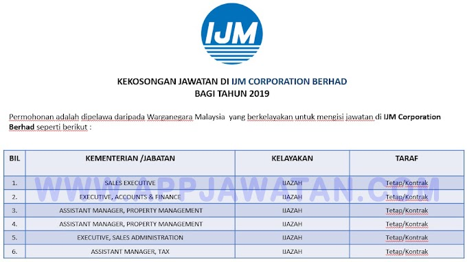 Jawatan Kosong Terkini di IJM Corporation Berhad.