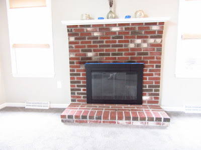 brick  fireplace in Taunton, MA. before whitewash.