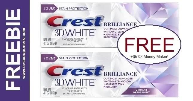 FREE Crest Brilliance Toothpaste CVS Deal 3/14-3/20