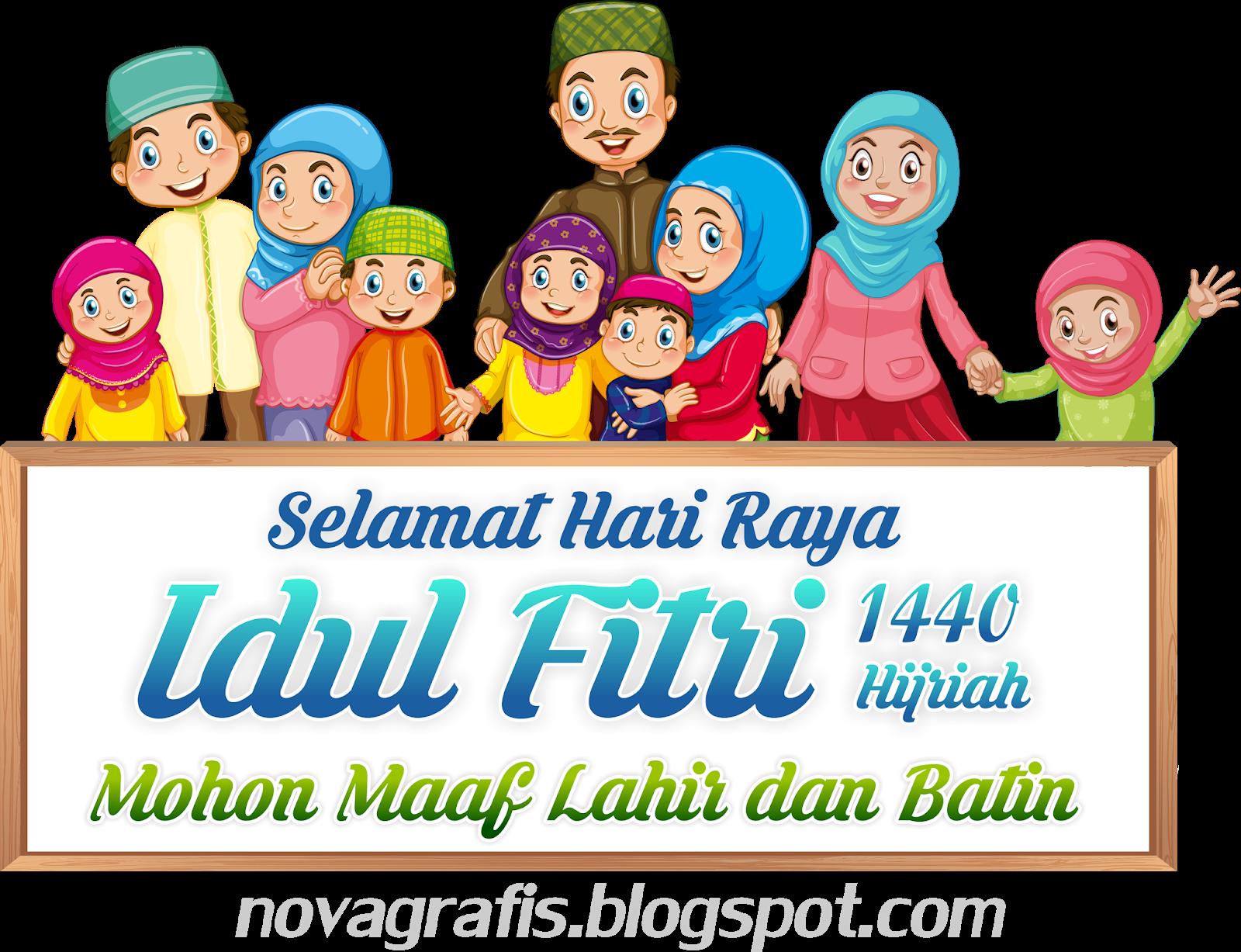 Gambar Kartun Ucapan Selamat Hari Raya Idul Fitri Nusagates