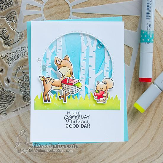 It's a Good Day Card by Tatiana Trafimovich | Woodland Picnic Stamp Set, Forest Scene Builder Die Set, Land Borders Die Set and Sunscape Stencil by Newton's Nook Designs #newtonsnook #handmade