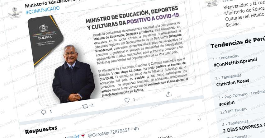 Da positivo en prueba del coronavirus el Ministro de Educación de Bolivia