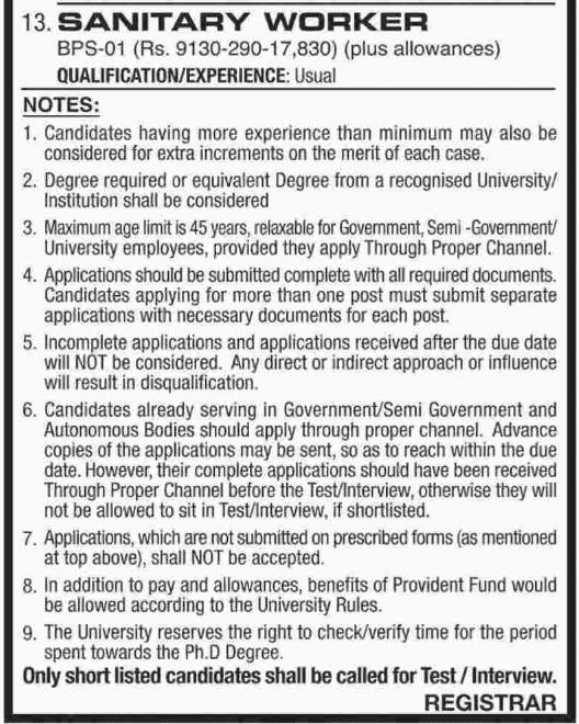 Advertisement for NED University Jobs 2019