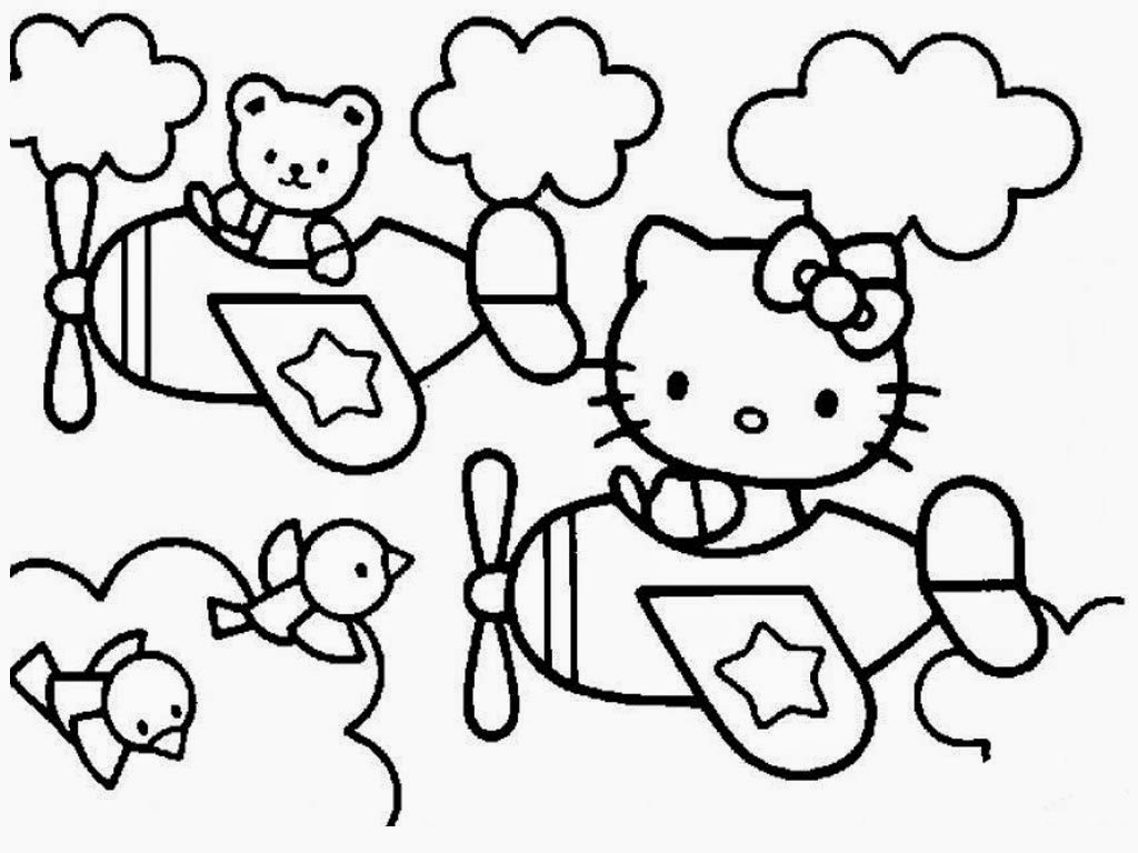 Hello kitty plane printable coloring pages