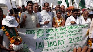 जय जगत पद यात्रा का चम्बल राजघाट पर हुआ भव्य स्वागत