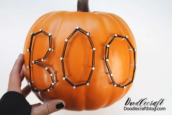 And finally the last letter. I love the look of this string art pumpkin!