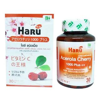 Haru Acerola Cherry 30 เม็ด ฮารุ อเซโรล่า เชอรรี่ 30 เม็ด (ผิวสวยใส เสริมภูมิคุ้มกัน)