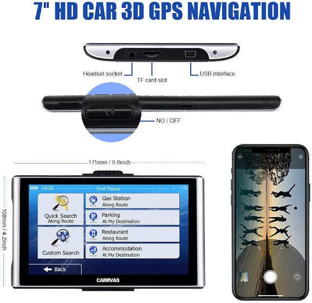 Truck Length Speed Camera prompts Current Speed Display Width and Height Settings CARRVA 2020 9 inch Car GPS Navigation for Car with Truck Navigation Voice Steering Reminder System