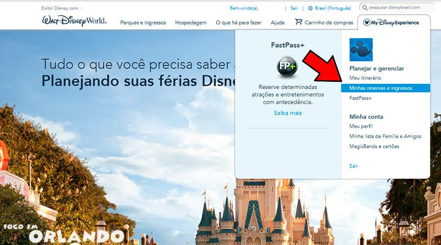 Associando seu voucher do WDW ao My Disney Experience