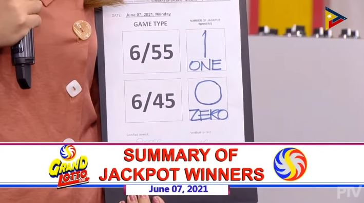 1 winner of Php 30-M Grand Lotto 6/55 jackpot on June 7, 2021