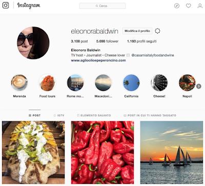 Instagram profile, Eleonora Baldwin - Aglio, Olio e Peperoncino