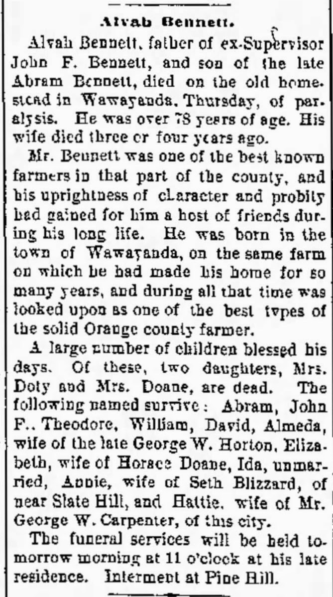 Alvah Bennett Obituary Middletown Times Press, Middletown, NY