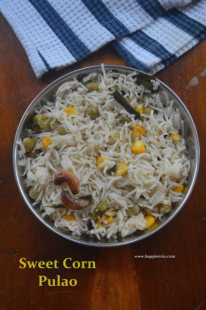 Sweet Corn  Peas Pulao Recipe | Easy Lunch Box recipe