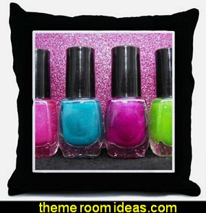 Bright Nail Polish Throw Pillow