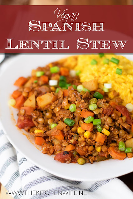 The bowl of Spanish lentil stew served with rice.
