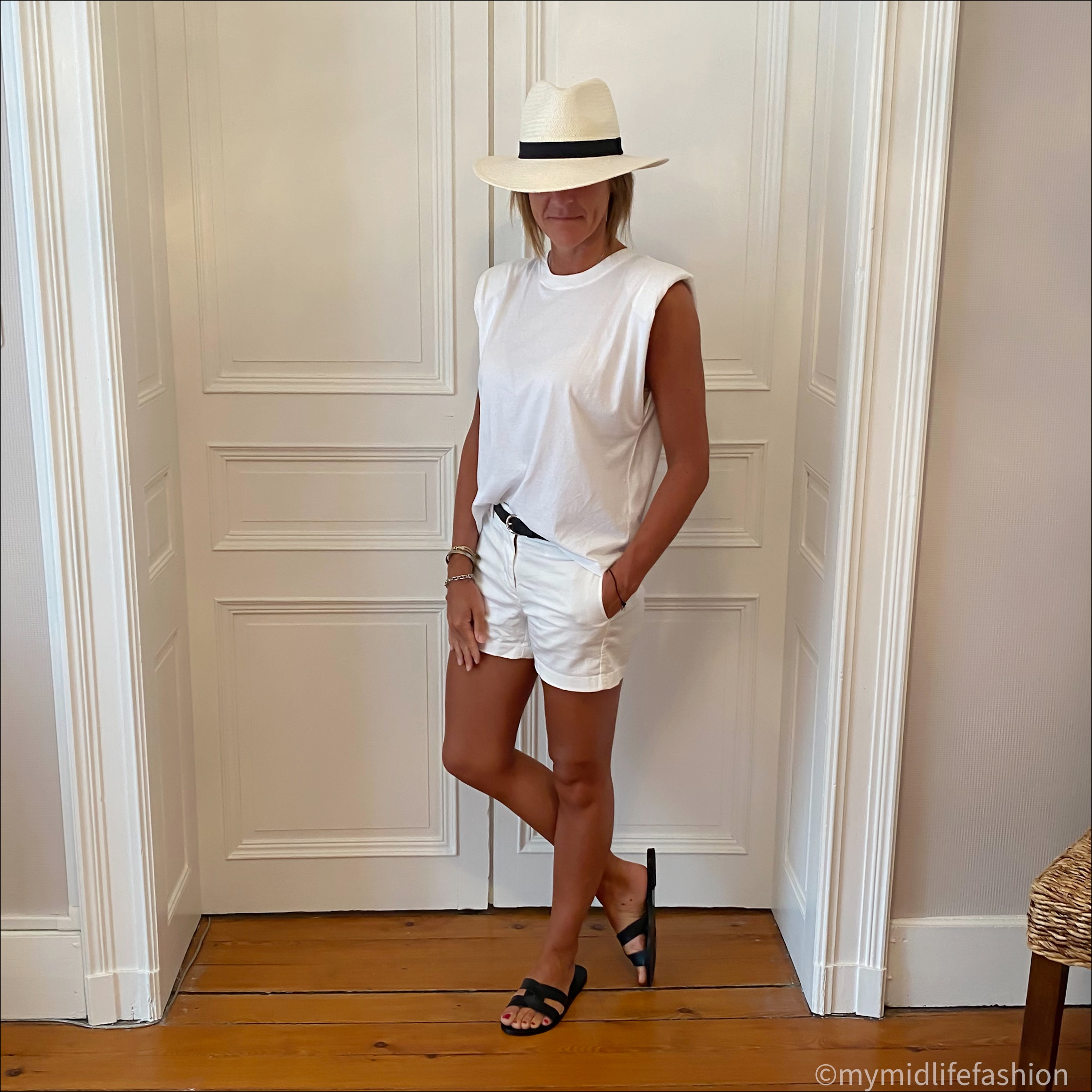 my midlife fashion, zara Panama hat, zara t shirt with pads, Isabel Marant leather studded belt, j crew chino 4 inch shorts, Ancient Greek desmos leather slides