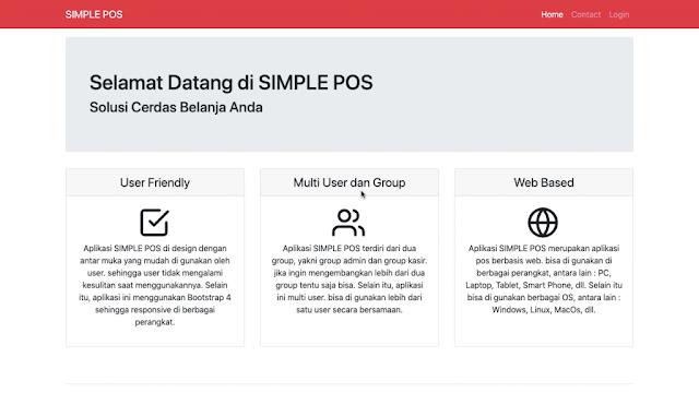 Halaman Awal Aplikasi Simple POS