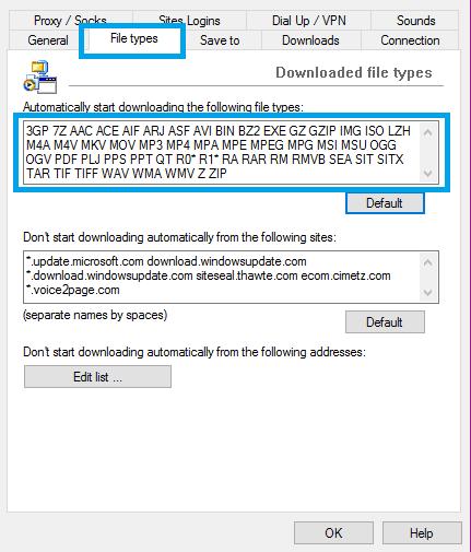 IDM Ekstensi file