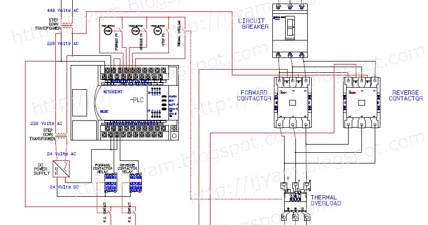 mitsubishi plc wiring diagram free diagrams weebly com electrical forward reverse motor control and power circuit using ...