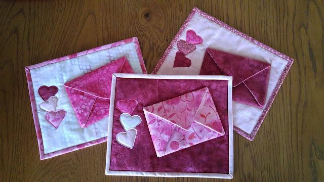 Island Batik Galentine Valentine Heart Envelope Mug Rug