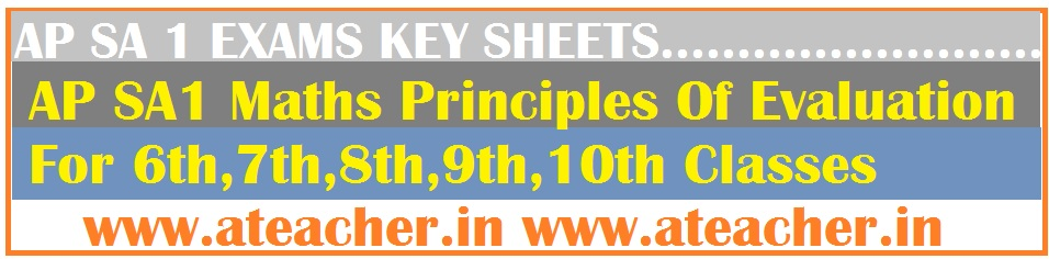 AP SA1 Maths Principles Of Evaluation For 6th,7th,8th,9th,10th Classes