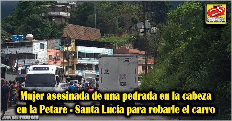 Mujer asesinada de una pedrada en la cabeza en la Petare - Santa Lucía para robarle el carro