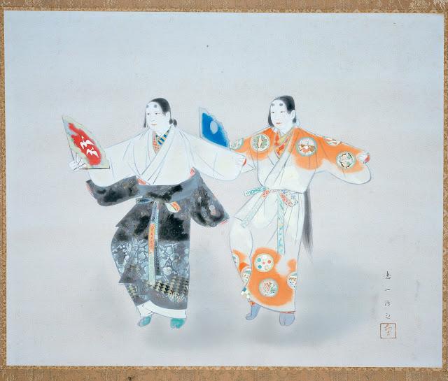 아시카가시대의 풍속(足利時代風俗), 58.9x72.7cm, 20세기 초, 액자