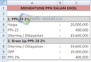 Rumus PPh 23 Dalam Excel