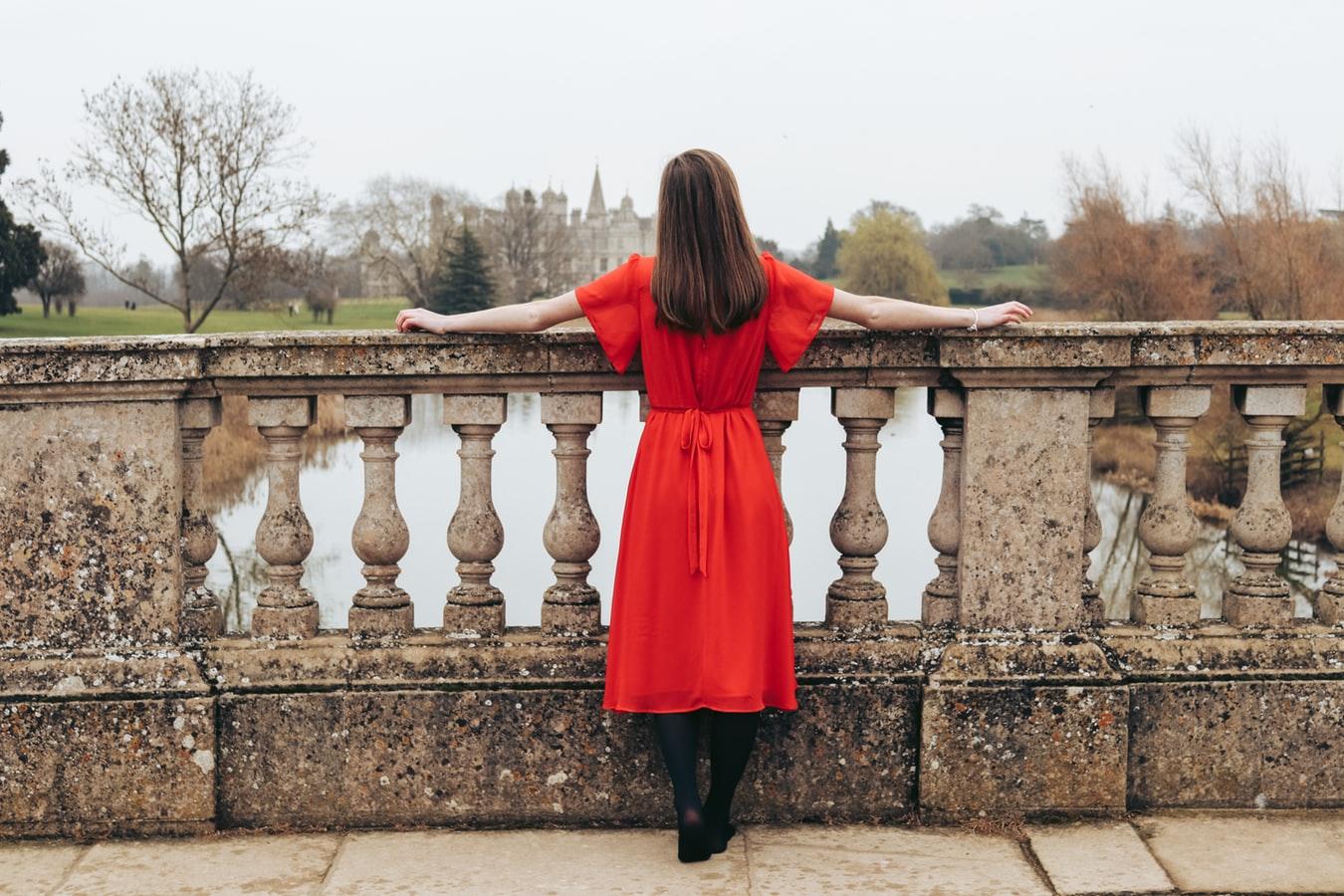 girl in pretty red dress